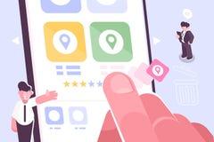 Hand die stersymbool zetten om classificatie van app te verhogen vector illustratie