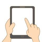 Hand, die Tablette anhält Stockfoto