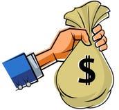 Hand, die Tasche des Geldes hält stock abbildung