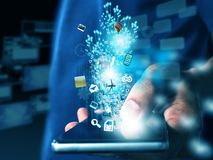 Hand, die Technologie hält stockfoto