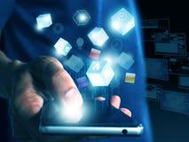 Hand, die Technologie hält Stockbild