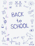 Hand die terug naar Schoolschets op geregeld notitieboekjedocument wordt getrokken Royalty-vrije Stock Foto