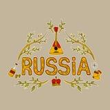 Hand, die traditionelle Symbole von Russland zeichnet Set vektorabbildungen Stockbild