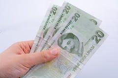 Hand die 20 Turksh Lirebankbiljet in hand houden Royalty-vrije Stock Fotografie
