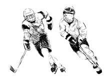 Hand die twee hockeyspeler trekken Stock Afbeelding
