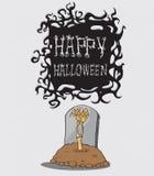 Hand die uit graf komen. Halloween-Monster Stock Illustratie