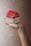 Hand die uiterst klein huis houdt Royalty-vrije Stock Afbeeldingen