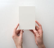 Hand, die unbelegte Karte anhält Lizenzfreie Stockfotos