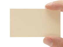 Hand, die unbelegte Visitenkarte anhält stockfotos