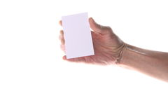 Hand, die unbelegte Visitenkarte anhält Lizenzfreie Stockbilder
