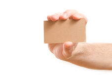 Hand, die unbelegte Visitenkarte zeigt Stockbild