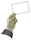Hand, die unbelegtes Papier anhält Lizenzfreie Stockbilder