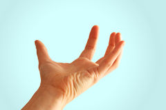 Hand, die unsichtbare Nachricht unterstützt Stockbilder