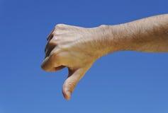 Hand, die Verdruß zeigt stockbild