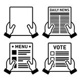 Hand, die verschiedene Papierblattikonen eingestellt hält Lizenzfreie Stockfotos