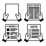 Hand die verschillende document bladpictogrammen geplaatst houden Royalty-vrije Stock Foto's