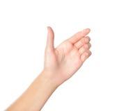 Hand die virtuele mobiele telefoon houdt Stock Foto