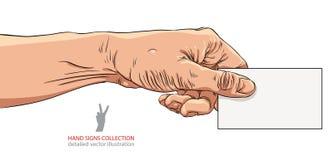 Hand, die Visitenkarte, ausführliche Vektorillustration gibt Stockfoto