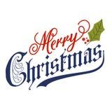 Hand die Vrolijk Kerstmisbericht van letters voorzien royalty-vrije illustratie