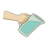 Hand, die Wasser-Pitcher hält Lizenzfreie Stockfotos