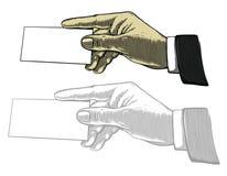 Hand, die weiße unbelegte Karte anhält Stockbilder