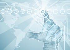 Hand, die Weltkarten-Konzepthintergrund auswählt Lizenzfreie Stockbilder