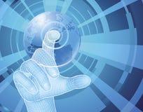 Hand, die Weltkugel-Konzepthintergrund auswählt Lizenzfreie Stockfotos