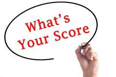 Hand die What's Uw Score op transparante raad schrijven Royalty-vrije Stock Afbeelding