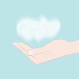 Hand, die Wolke hält Stockbild