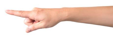 Hand die zijn wijsvinger tonen Stock Foto's