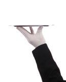 Hand die zilveren dienblad steunt Royalty-vrije Stock Afbeelding