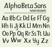 Hand die zonder Serifs Alfabet wordt getrokken Stock Foto