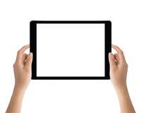Hand die zwarte die tablet houden op witte het knippen weg binnen wordt geïsoleerd Royalty-vrije Stock Afbeelding