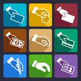 Hand with different objects Flat Icons Set 42 Stock Images