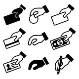 Hand with different objects icons set Royalty Free Stock Photography