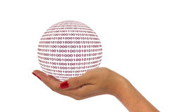 Hand with digital ball Royalty Free Stock Photography