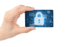 Hand with digital card and closed lock Royalty Free Stock Photos
