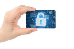 Hand with digital card and open lock Stock Photos
