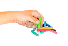 Hand dirty with Chalk Pastels Set in hand for Art Drawing Scrapb Royalty Free Stock Images