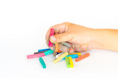 Hand dirty with Chalk Pastels Set in hand for Art Drawing Scrapb Royalty Free Stock Image