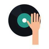 Hand dj playing vinyl Royalty Free Stock Photography