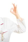 Hand of doctor showing ok okay hand sign gesture Royalty Free Stock Photography