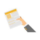 Hand with document page Royalty Free Stock Images