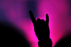 Hand doing rock sign at a rock concert Royalty Free Stock Images