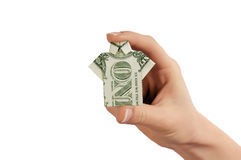 Hand with dollar. As sign of success stock photography