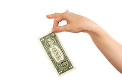 Hand with dollar. As sign of success stock photos