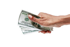 Hand with dollar banknotes isolated. Royalty Free Stock Photography