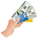 Hand with Dollar Bills and Credit Cards Royalty Free Stock Image