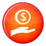Hand and dollar coin icon, flat style Royalty Free Stock Images