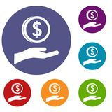 Hand and dollar coin icons set Stock Images